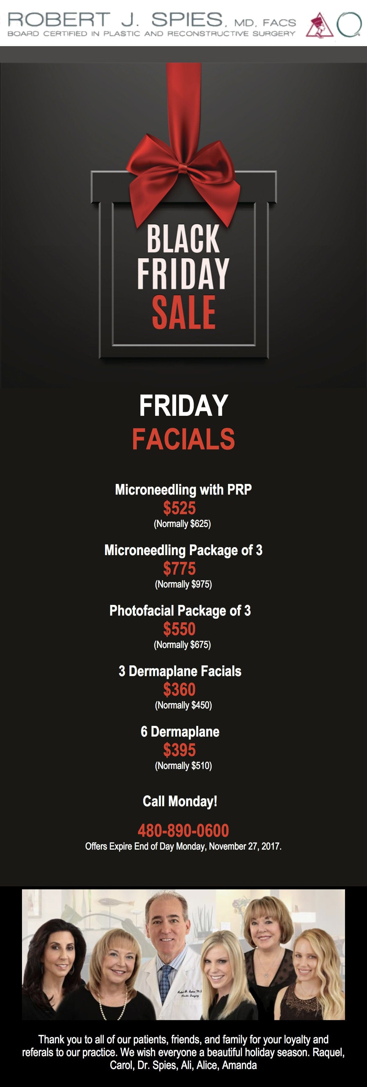 Black Friday Specials - Friday Facials!!