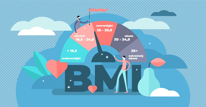 Illustration of body mass index (BMI) scale.